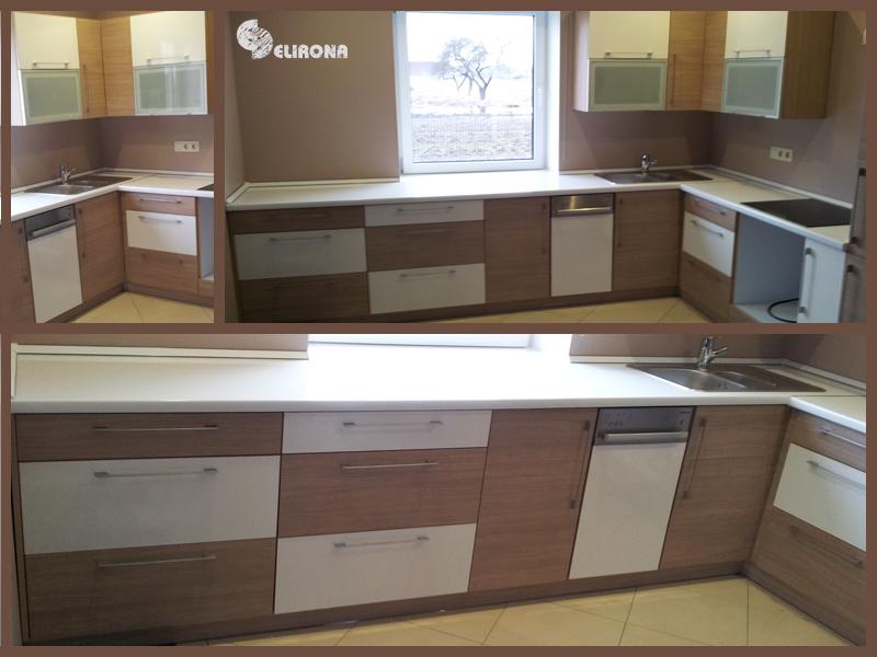 Virtuvės komplektas su rudais ir baltais fasadais