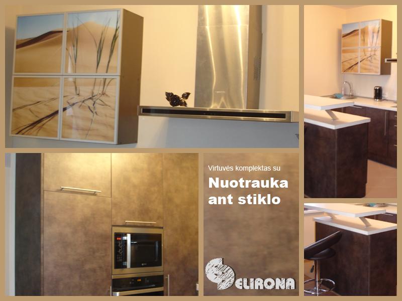 Virtuvė su nuotrauka ant stiklo