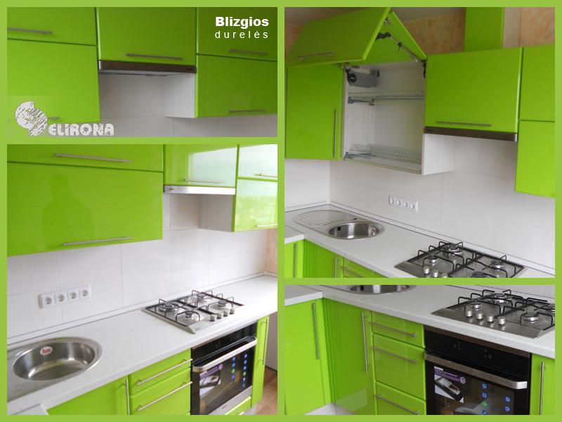 Virtuvės komplektas žaliomis blizgančiomis durelėmis.